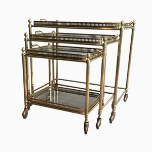 Neoclassical French Brass Nesting Tables from Maison Baguès, 1940s