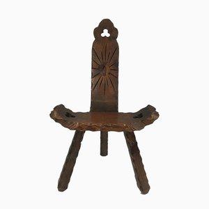 Chaise de Montagne en Bois Sculpté, France, 1950s