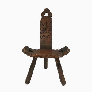 French Carved Wood Mountain Chair, 1950s
