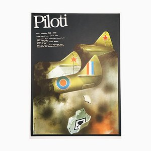Pilots Movie Poster by Karel Vaca, 1980s