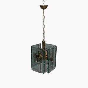 Lámpara colgante grande de vidrio, años 50