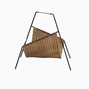 Bamboo & Straw Geometrical Magazine Rack, 1950s