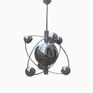 Lámpara de araña planetaria italiana cromada de Reggiani, años 70