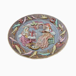 Large Italian Ceramic Decorative Plate by Paolo Loddo, 1960s