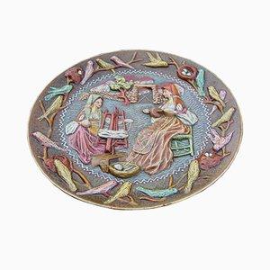Plato decorativo italiano redondo grande de cerámica de Paolo Loddo, años 60