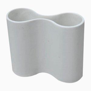 Weiße italienische Convex Vase, 1960er