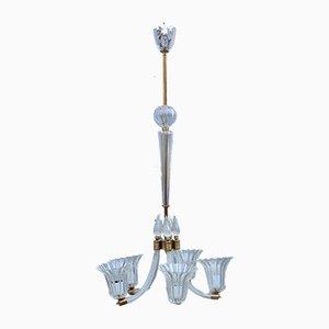 Lámpara de araña redonda de cristal de Murano y latón, años 40