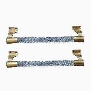 Tiradores de puerta italianos de cromo y cristal de Murano trenzado, años 40. Juego de 2