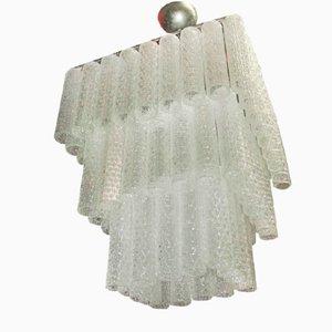 Lámpara de araña italiana con tubos de cristal de Murano, años 60