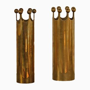 Swedish Brass Vases by Pierre Forsell for Skultuna, 1980s, Set of 2