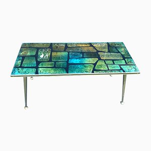 Mid-Century Painted Metal & Glass Coffee Table, 1950s