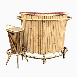 Vintage Bamboo Tiki Bar & Stool Set, 1950s