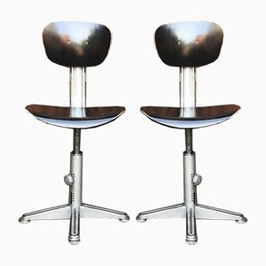 Mid-Century French Industrial Swivel Chairs from Brevets, Set of 2