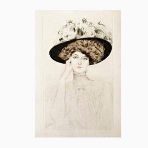 Lámina a color grande de Paul César Helleu, década de 1900