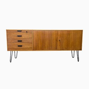 Mid-Century Walnut & Black Metal Sideboard, 1960s