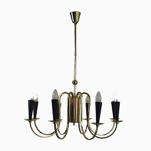 Italian Eight-Arm Sputnik Brass Chandelier, 1950s