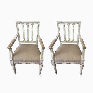 Antike gustavianische Stühle, 2er Set