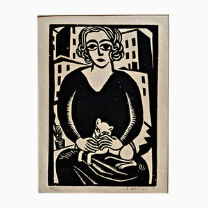 Maria with Cat Woodcut Print by Georg Schrimpf, 1918