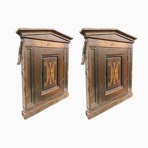 Antike Tabernakeltüren aus Holz mit Tympanon, 2er Set