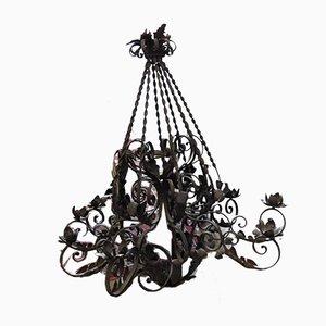 Lámpara de araña de hierro forjado, siglo XIX