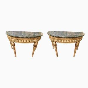 Antike Louis XVI Holzpoller mit Halbmond-Tischplatten aus grünem Marmor, 2er Set