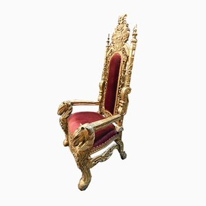 Antique Gilded Throne, 1800s