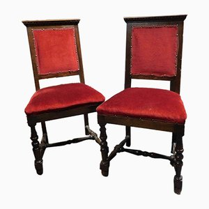 19th Century Italian Red Velvet & Wood Chairs, Set of 2