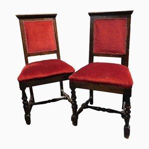 Sillas italianas de terciopelo rojo y madera, siglo XIX. Juego de 2