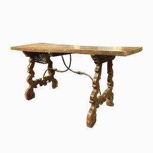 Antique Italian Walnut & Iron Table, 1700s