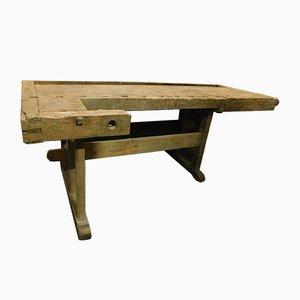 Mesa de trabajo italiana antigua de madera maciza, década de 1800