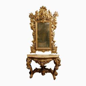 Antikes Set mit Konsolentisch und Spiegel