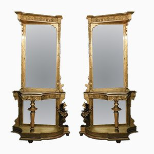 Antique Console Tables with Neogothic Mirrors, Set of 2