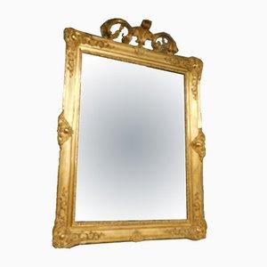 Espejo italiano antiguo de madera dorada con molduras grandes talladas, década de 1800