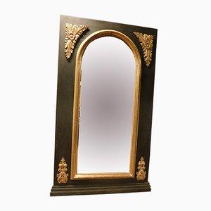 Espejo italiano antiguo lacado en negro y dorado, década de 1800