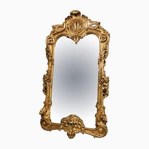 Espejo italiano antiguo de madera dorada tallada, década de 1800