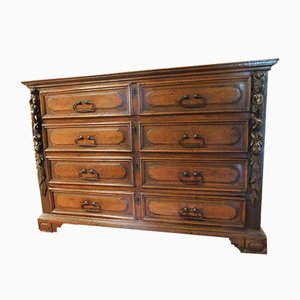 Antique Walnut Dresser with Putti Sculptures, 1600s