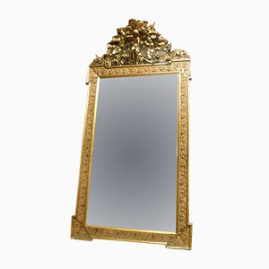 Antique Giltwood Mirror with Carved Molding, 1800s