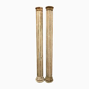 Antique Italian Lacquered and Gilded Wood Columns, 1800s, Set of 2