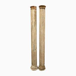 Columnas italianas antiguas de madera lacada y dorada, década de 1800. Juego de 2