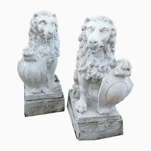 19th-Century Stone Lions, Set of 2