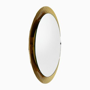 Grand Miroir Mural Rond Lumineux Mid-Century de Hillebrand Lighting, 1960s