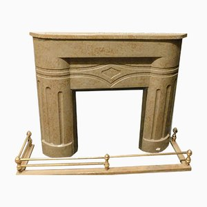 Vintage Art Deco Style Marble Fireplace, 1940s