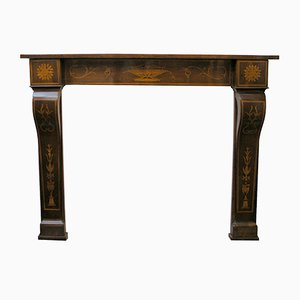 Antique 19th Century Inlaid Walnut Fireplace Mantel
