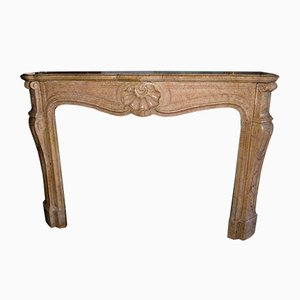 Antique Yellow Stone Fireplace Mantel