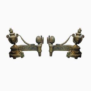 Italienische Kaminböcke aus Bronze im Louis XVI-Stil, 1700er, 2er Set