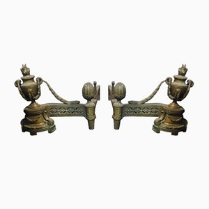 Louis XVI Style Italian Bronze Andirons, 1700s, Set of 2