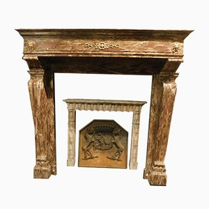 Antique Rosso Levanto Marble Fireplace
