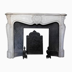 Antique Bianco Carrara Marble Fireplace, 1800s