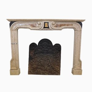 17th-Century Marble Inlaid Fireplace Mantel