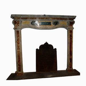 18th-Century Italian Grey Bardiglio Marble Fireplace Mantel